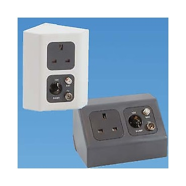 Caravan Campervan C-Line 2 Way Angled Socket Holder (also suits CBE) - Dark Grey