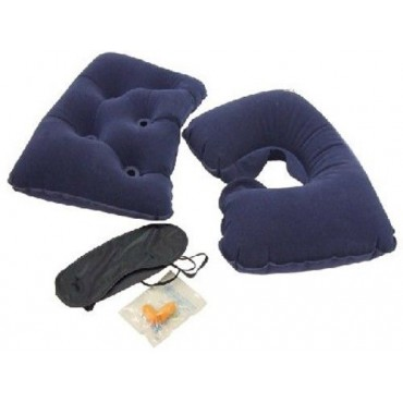 Camping Home Inflatable Flocked Air Pillow & Travel Kit
