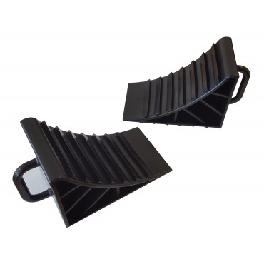 Caravan Pair Of Wheel Chocks - Black