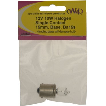Caravan Camper Bulb - Ba15s 12V 10W Halogen 15mm Single Contact Base