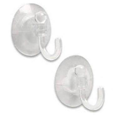 Suction Hooks - Pack Of Two - Clear - Base Diameter 50mm
