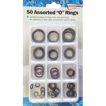Streetwize Pack of 50 Assorted General Purpose O-rings