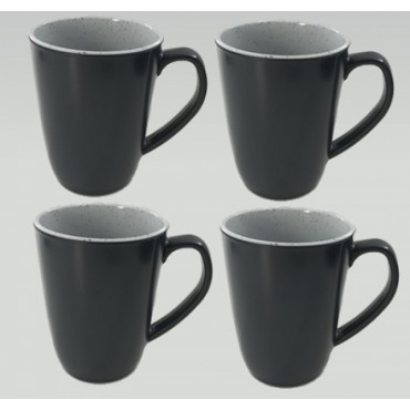 Melamine Set Of 4 Mugs - Flamefield Granite Grey