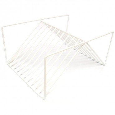 White Plasti-Coated Cupboard Plate Rack / Plate Holder