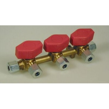 Three (3) Way Gas Manifold With Taps