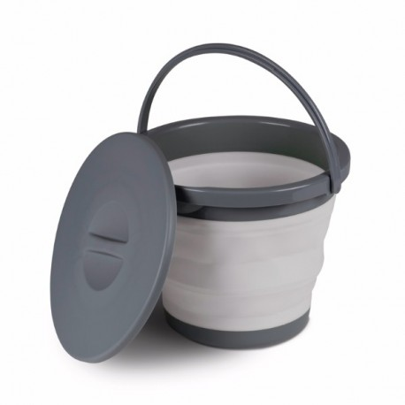 Kampa Silicone Sided Grey 5 Litre Folding Bucket with Lid
