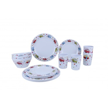 Picnic / Melamine 16 piece Dinner Set - Camping Bug
