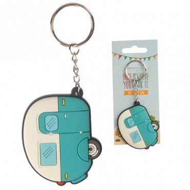 Home is where you park it... Blue Caravan Soft PVC Keyring