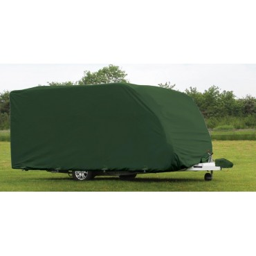 Quest Green 3-ply Caravan Cover Pro (Small 360-420cm) & FREE Hitch Cover