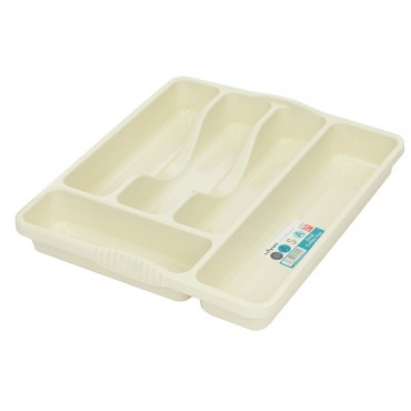 Casa Small 5 Compartment Plastic Cutlery Tray - Cream