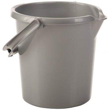 Wham 10ltr Plastic Bucket with Handle in Silver