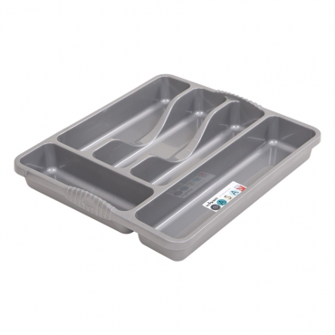 Casa Small 5 Compartment Plastic Cutlery Tray - Silver
