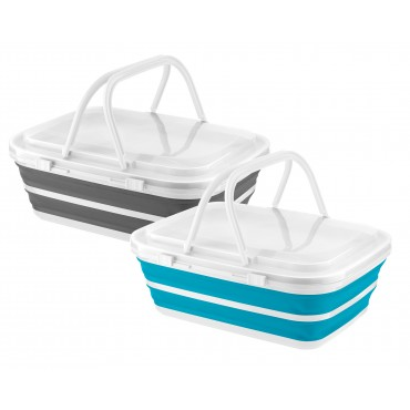 Home+ Collapsible Silicone 9 Litre Picnic Basket with Ice Blocks