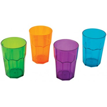 "Quest Elegant Plastic Glassware High Tumbler Plastic ""Glasses"" (set of 4)"