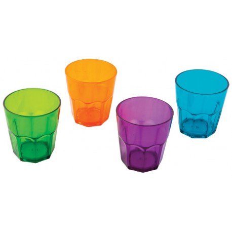 "Quest Elegant Plastic Glassware Low Tumbler Plastic ""Glasses"" (set of 4)"