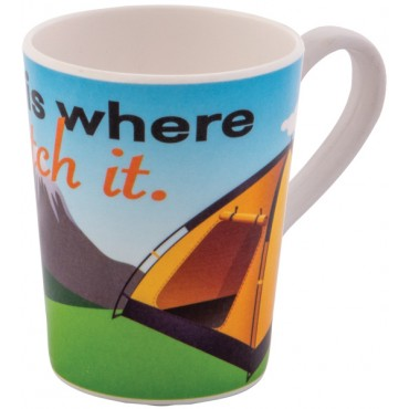 Melamine Mug Tent - Home Is Where You Pitch It Design