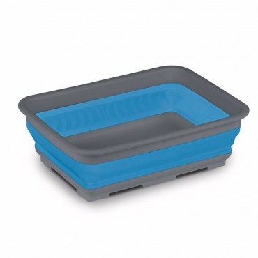 Collapsible Rectangular Washing Up Bowl - Blue