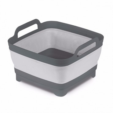 Collapsible Washing Bowl with Straining Plug - Grey