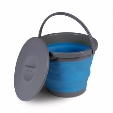 Kampa 5 Litre Collapsible Silicone Sided Bucket With Lid - Blue