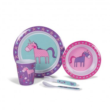 Kampa Pink & Purple Unicorns Childrens Melamine Picnicware Set