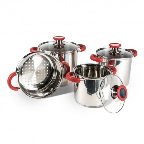 Kampa Space Saver Pro Stainless Steel Stacking Lightweight Saucepan Set