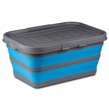 Kampa Large Silicone Sided 28 Litre Blue Storage Box - Collapses flat!
