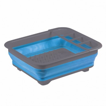Kampa Folding / Collapsible Silicone Sided Dish Drainer - Blue