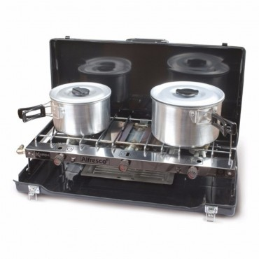 Kampa Alfresco LPG Suitcase Camping Stove with Double Gas Hob & Grill