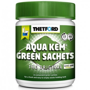 Thetford Aqua Kem Green Sachets - Tub of 15 - Caravan Chemical Toilet Additive