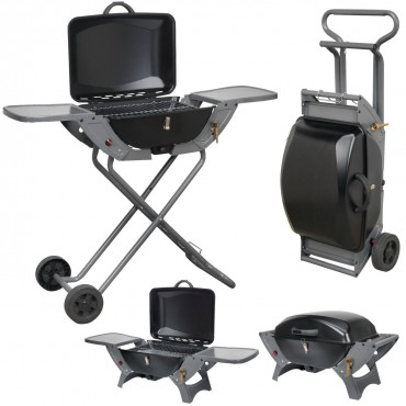 Crusader Portable Folding Gas Trolley Combo Barbecue