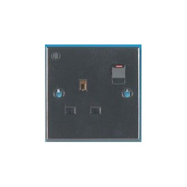 240v Single Gang Mains 3 Pin Socket - Black