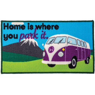 "Quest Tent ""Home is where you park it"" Camper Machine Washable Door Mat"