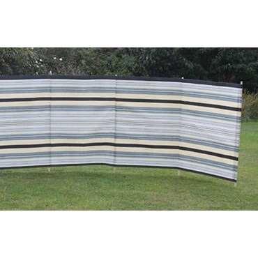 Blue Diamond 7 Pole Windbreak - Sand / Grey Contemporary Stripe
