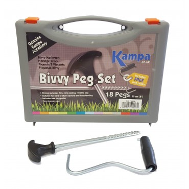 Kampa Bivvy Peg Tent / Awning Hardstanding Rock Peg Set with FREE Peg Puller