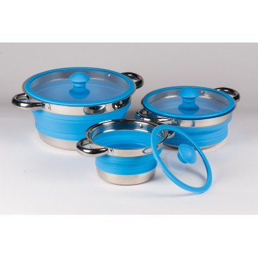 Kampa Folding Silicone Saucepan - Ideal for Camping & Caravans