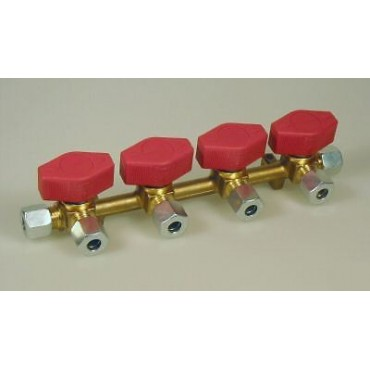Four (4) Way Gas Manifold With Taps