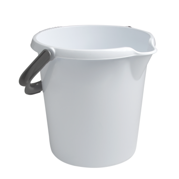 Plastic Bucket With Handle - Ice White - 10Ltr