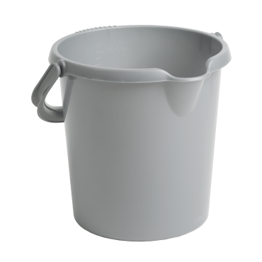 Plastic Bucket with Handle in Silver - 10Ltr