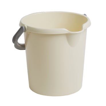 Plastic Bucket with Handle in Cream - 10Ltr
