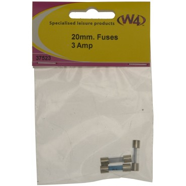 Pack Of Three Glass Fuses - 20mm X 3mm - 3A
