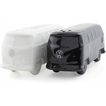 Ceramic Salt and Pepper Shakers  Black- Volkswagen VW T1 Campervan Bus