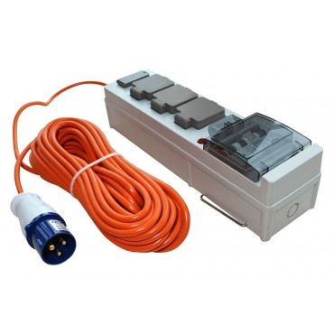 Mobile Mains Camping Tent Power Unit with USB and 18m Cable