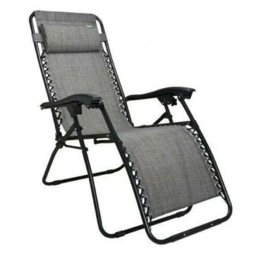Quest Breeze Range Folding Strong & Sturdy Hampton Relaxer Chair - Grey